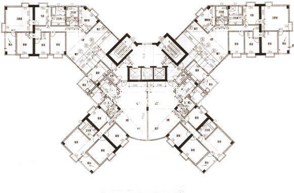 这种大碟式建筑,能做出部分南北通透户型,如图中的左上角和右上角,缺点是公摊更大点,容易出现异形户型,比如不方正、缺角、斜边等情况。 板塔结合 板塔结合的建筑一般两端是塔楼户型,中间是板楼户型,大户型是板楼,小户型是塔楼 版塔楼常用标签:经济适用、容积率大,居住密度大,南北通透。 下图是一个常见的板塔结合平面图: